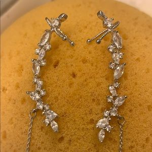 Crystal accent earring-earcuffs